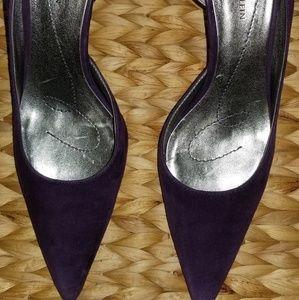 Purple suede pumps